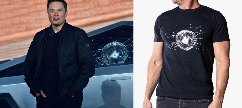 Tesla Now Sells Cybertruck Broken Window T-Shirts.