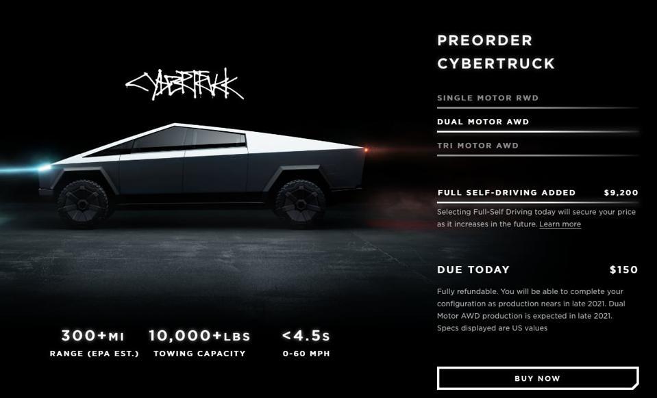 CYBERTRUCK PRE-ORDERS TOP 500,000