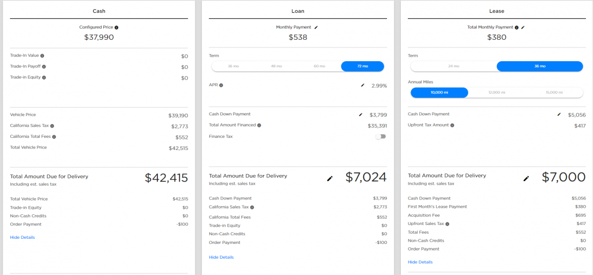 Tesla Model 3 Purchase Price
