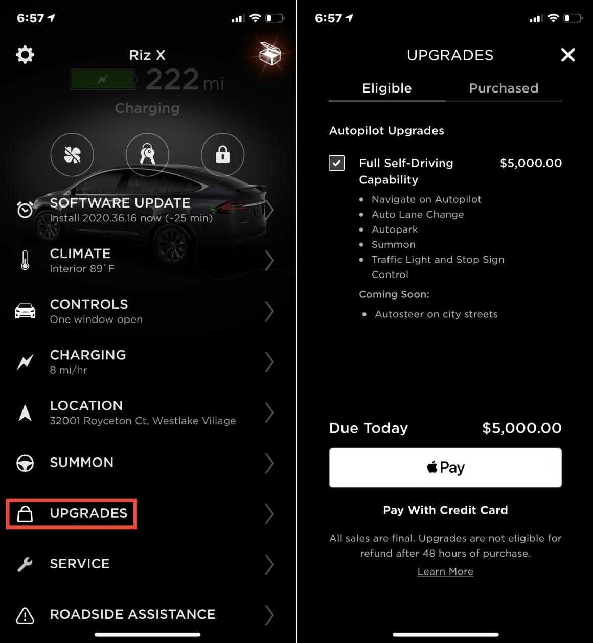 Tesla In-App Purchase